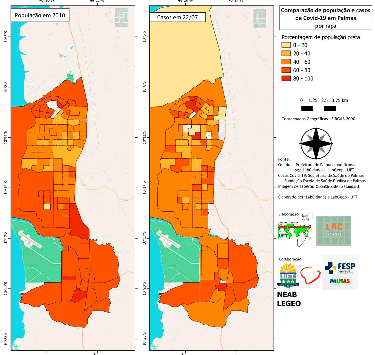Comparação população e casos de COVID-19 em Palmas por Raça